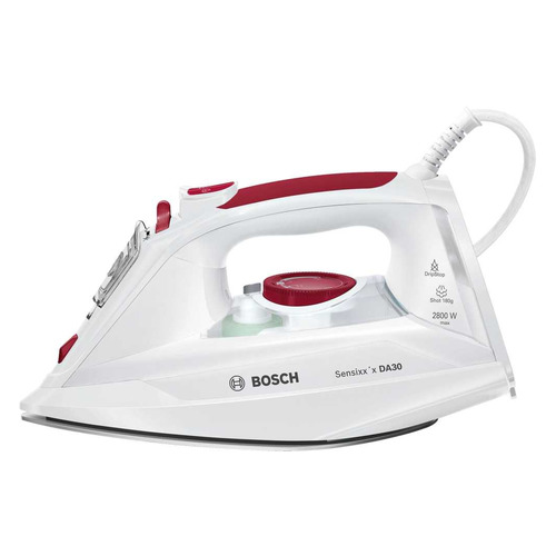 Фото - Утюг BOSCH TDA302801W, 2800Вт, белый/ красный утюг bosch tda5028020 2800вт белый фиолетовый