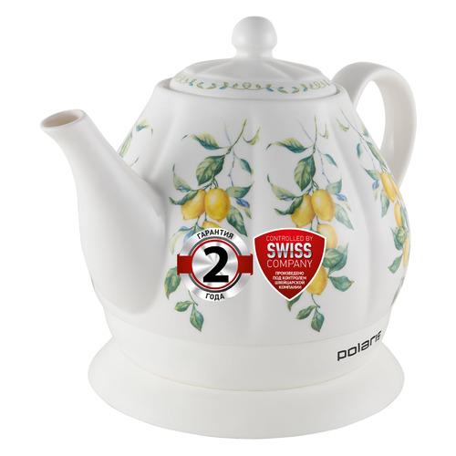 Чайник электрический POLARIS PWK 1287CC, 1200Вт, белый и рисунок чайник polaris pwk 1287cc