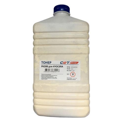 Тонер CET PK208, для Kyocera Ecosys M5521cdn/M5526cdw/P5021cdn/P5026cdn, желтый, 500грамм, бутылка