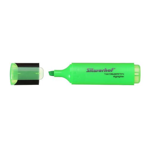 Упаковка текстовыделителей SILWERHOF Blaze, скошенный пишущий наконечник, 1-5, зеленый [108036-03] 12 шт./кор. упаковка напалечников для бумаг silwerhof 17мм диам 28мм выс резина зеленый [672202] 10 шт кор