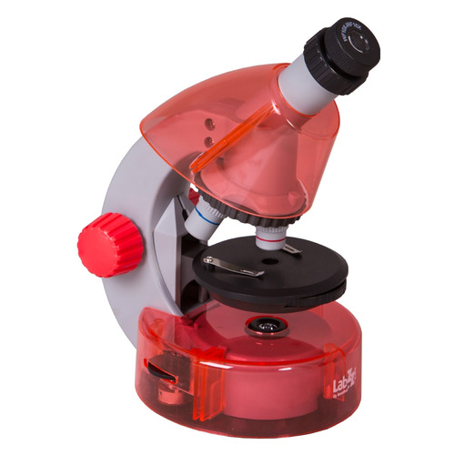 Микроскоп Levenhuk LabZZ M101 монокуляр 40-640x на 3 объектива апельсиновый