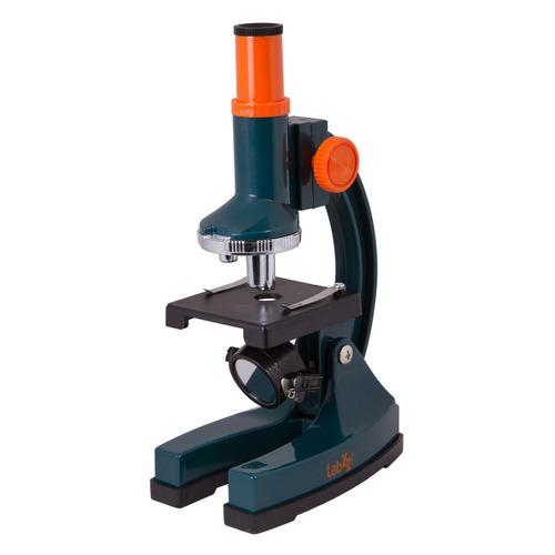 Микроскоп Levenhuk LabZZ M1 монокуляр 100-300 на 3 объектива зеленый/оранжевый