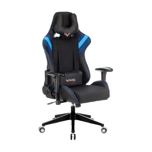 Кресло игровое БЮРОКРАТ VIKING 4 AERO, на колесиках, искусственная кожа/ткань, черный/синий [viking 4 aero blue] кресло офисное персона persona доступные цвета обивки искусств чёрная кожа