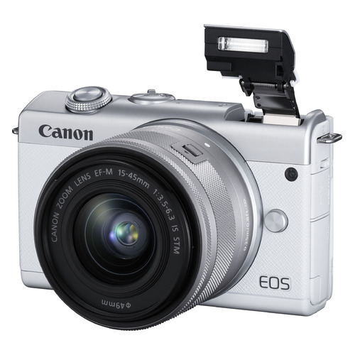Фото - Фотоаппарат CANON EOS M200 kit ( 15-45 IS STM), белый [3700c010] ноутбук hp 17 ca1012ur amd ryzen 3 3200u 2600 mhz 17 3 1600x900 4gb 500gb dvd rw radeon vega 3 wi fi bluetooth windows 10