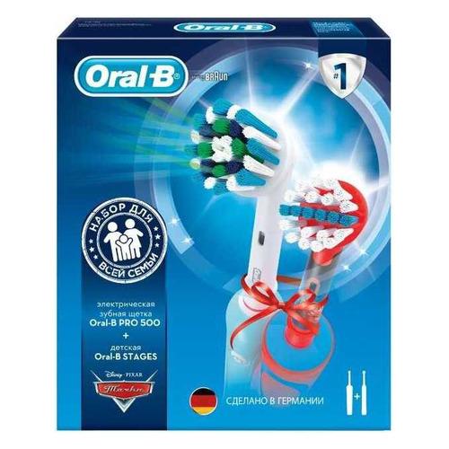 цена на Набор электрических зубных щеток ORAL-B PRO 500 + Stages Power Cars, цвет: белый