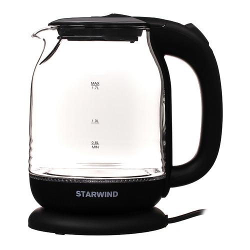 Чайник электрический STARWIND SKG1311, 2200Вт, черный и серебристый чайник электрический starwind skg2217 2200вт фиолетовый и черный