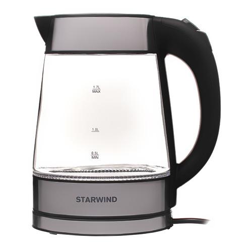 Чайник электрический STARWIND SKG3311, 2200Вт, черный и серебристый чайник электрический starwind skg2217 2200вт фиолетовый и черный