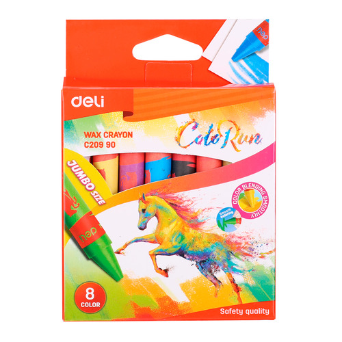 Упаковка мелков восковых DELI Colorun EC20990 EC20990, 8 цветов 24 шт./кор. упаковка мелков восковых deli colorun ec20820 ec20820 24 цвета 12 шт кор