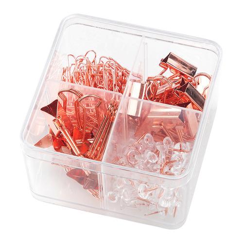 Набор мелкоофисный DELI 78551, гвоздики 50шт, скрепки 100шт, металл, золотистый 4 шт./кор. скрепки deli e0050 никелированные 50мм упак 100шт картонная коробка 10 шт кор
