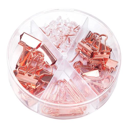 Набор мелкоофисный Deli 78553 гвоздики 20шт скрепки 30шт золотистый металл пластиковая туба 6 шт./кор.