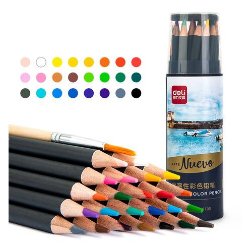 Фото - Упаковка карандашей цветных DELI 68100 68100, липа, 24 цв., тубус металлический упаковка карандашей цветных акварельных deli 6522 6522 липа 36 цв коробка металлическая