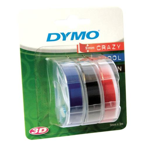 Картридж (тройная упаковка) DYMO Omega, белый / синий / черный / красный / 9мм, белый шрифт, синий/черный/красный фон, 3м [s0847750] DYMO