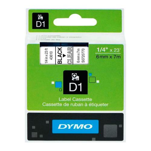 Картридж DYMO D1, черный / прозрачный / 6мм, черный шрифт, прозрачный фон, 7м [s0720770]