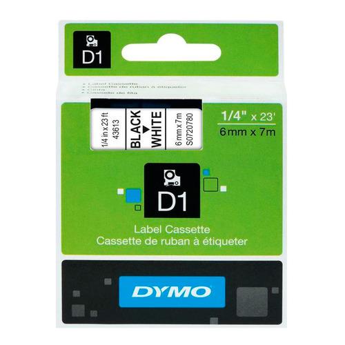 Картридж DYMO D1, черный / белый / 6мм, черный шрифт, белый фон, 7м [s0720780]