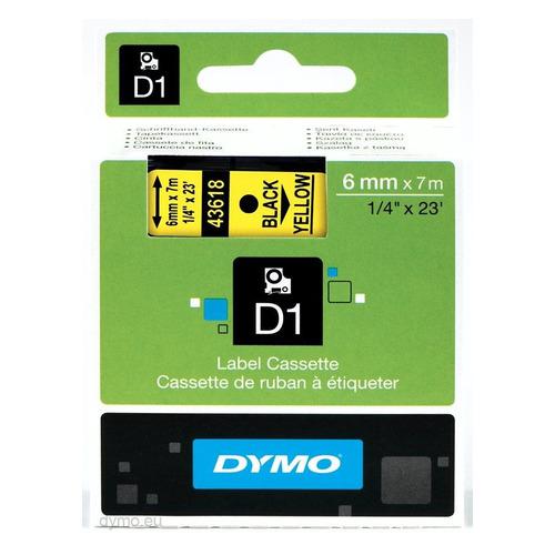 Картридж DYMO D1, черный / желтый / 6мм, черный шрифт, желтый фон, 7м [s0720790]