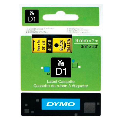 Картридж DYMO D1, черный / желтый / 9мм, черный шрифт, желтый фон, 7м [s0720730]