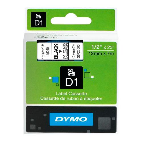 Картридж DYMO D1, черный / прозрачный / 12мм, черный шрифт, прозрачный фон, 7м [s0720500]