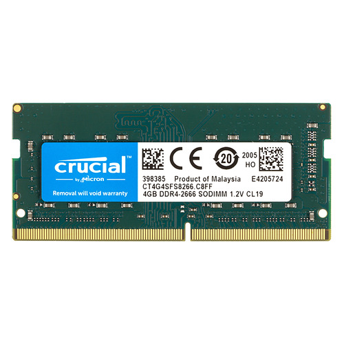 Модуль памяти CRUCIAL CT4G4SFS8266 DDR4 - 4ГБ 2666, SO-DIMM, Ret модуль памяти so dimm ddr4 4gb pc21300 2666mhz crucial ct4g4sfs8266