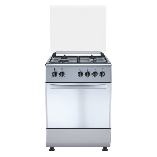 Газовая плита DE LUXE 606040.24г-005 (кр), газовая духовка, стеклянная крышка, нержавеющая сталь [606040.24г 005 (кр)] газовая плита de luxe 506040 05г газовая духовка белый