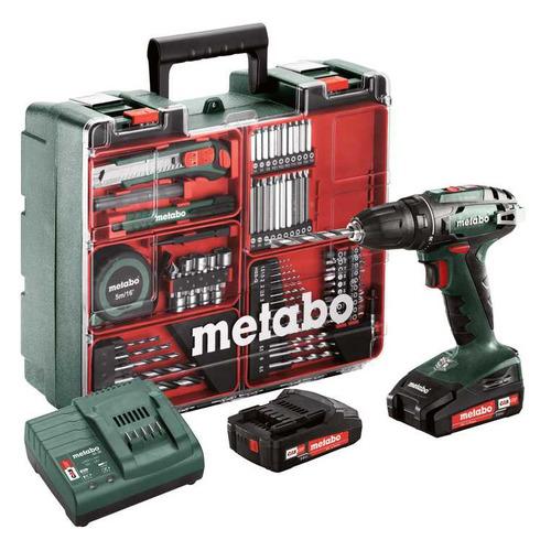 Дрель-шуруповерт METABO BS 18 SET, 2Ач, с двумя аккумуляторами [602207880] патрон metabo 636620000