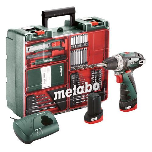 цена на Дрель-шуруповерт METABO PowerMaxx BS Basic SET, 2Ач, с двумя аккумуляторами [600080880]