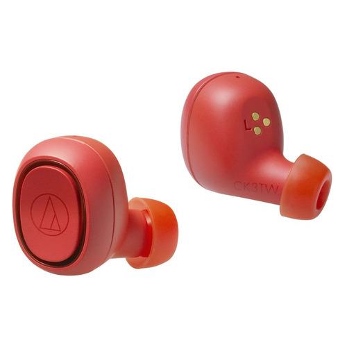 Гарнитура AUDIO-TECHNICA ATH-CK3TW, Bluetooth, вкладыши, красный [80000916] наушники audio technica ath ck3tw black
