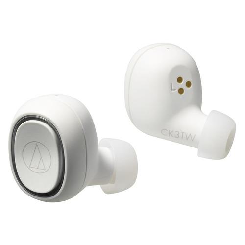 Наушники AUDIO-TECHNICA ATH-CK3TW, Bluetooth, вкладыши, белый [80000917] наушники audio technica ath ck3tw black