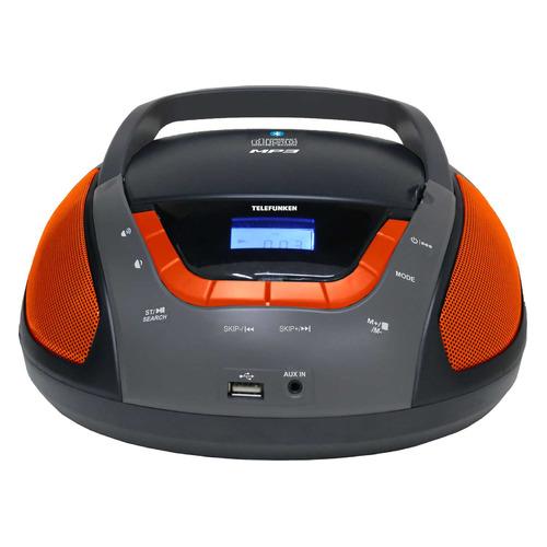 Фото - Аудиомагнитола TELEFUNKEN TF-CSRP3496B, черный и оранжевый аудиомагнитола telefunken tf srp3503b серый 6вт mp3 fm dig usb bt sd