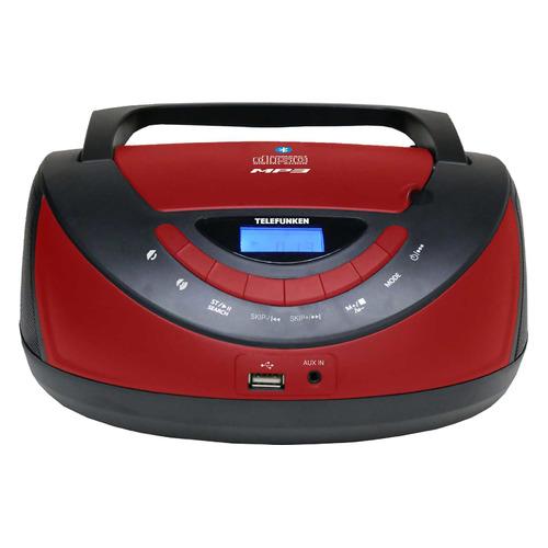 цена на Аудиомагнитола TELEFUNKEN TF-CSRP3497B, черный и красный