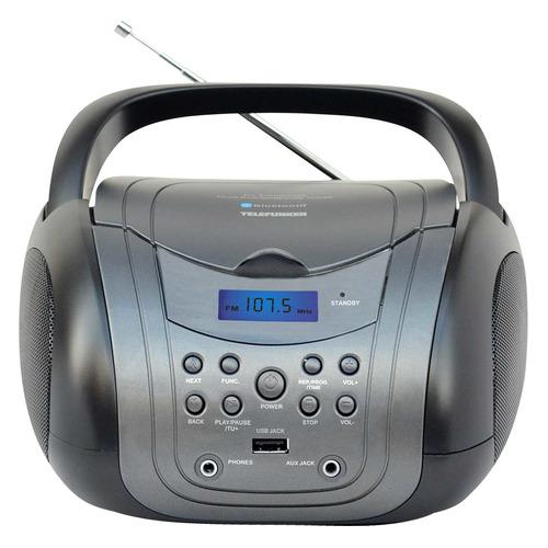Аудиомагнитола TELEFUNKEN TF-CSRP3499B, серый и черный аудиомагнитола telefunken tf csrp3494b красный
