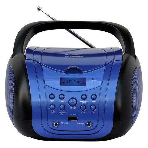 Аудиомагнитола TELEFUNKEN TF-CSRP3499B, синий и черный аудиомагнитола telefunken tf csrp3494b красный