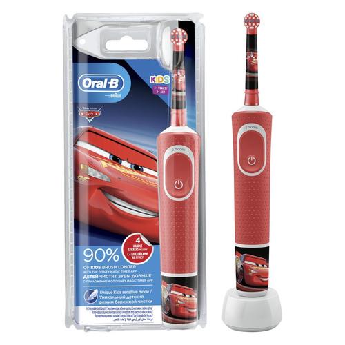 Электрическая зубная щетка ORAL-B Kids Cars, цвет: красный [80324459] зубная щетка longa vita angry birds электрическая сменная головка от 3 лет