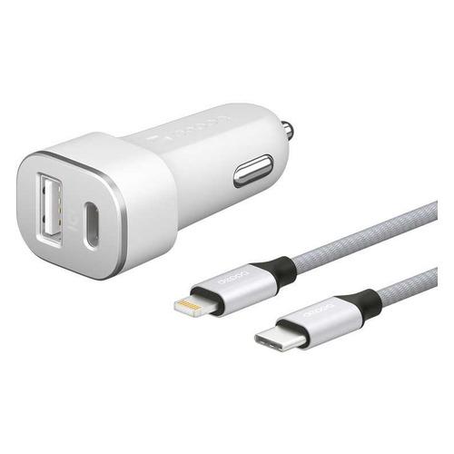цена на Автомобильное зарядное устройство DEPPA USB + USB type-C, 8-pin Lightning (Apple), 3A, белый