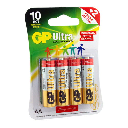 AA Батарейка GP Ultra Alkaline 15AUGLNEW LR6, 4 шт.