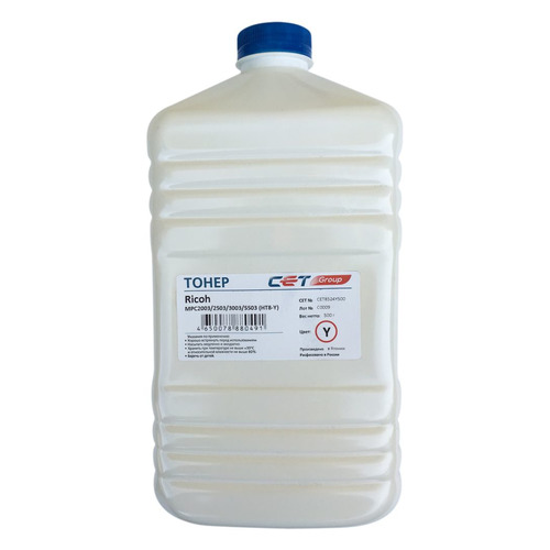 Тонер CET HT8-Y, для RICOH MPC2003/2503/3003/5503, желтый, 500грамм, бутылка 10x toner seal for use in ricoh mpc5503 mpc2003 mpc2011 mpc2503 mpc3003 mpc3503 mpc4503 mpc5503 mpc6003
