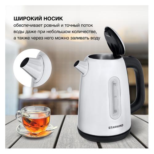 Фото - Чайник электрический STARWIND SKS3210, 2200Вт, серебристый чайник электрический starwind skg2213 2200вт зеленый и черный