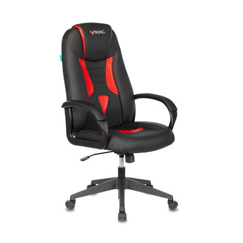Кресло игровое БЮРОКРАТ VIKING-8N, на колесиках, искусственная кожа, черный/красный [viking-8n/bl-red] кресло офисное персона persona доступные цвета обивки искусств чёрная кожа