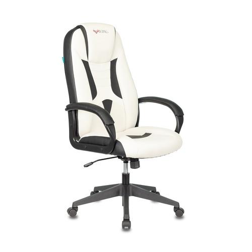 Кресло игровое БЮРОКРАТ VIKING-8N, на колесиках, искусственная кожа, белый/черный [viking-8n/wh-black] кресло офисное персона persona доступные цвета обивки искусств чёрная кожа