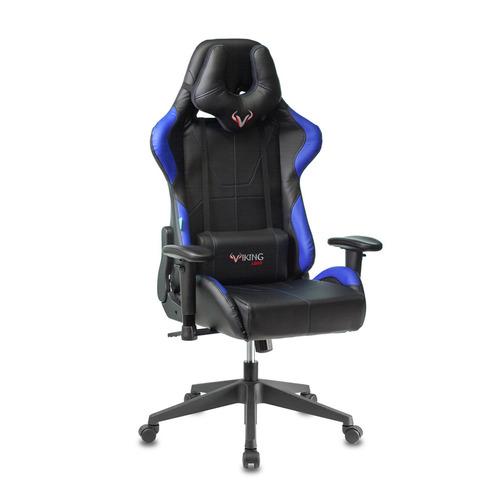 где купить Кресло игровое БЮРОКРАТ VIKING 5, на колесиках, искусственная кожа, черный/синий [viking 5 aero blue] дешево