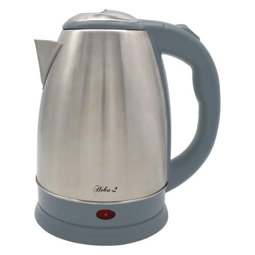Чайник электрический ВЕЛИКИЕ РЕКИ Нева-2, 2000Вт, нержавеющая сталь и серый чайник электрический великие реки нева 2 1 8л 2000вт белый корпус нержавеющая сталь