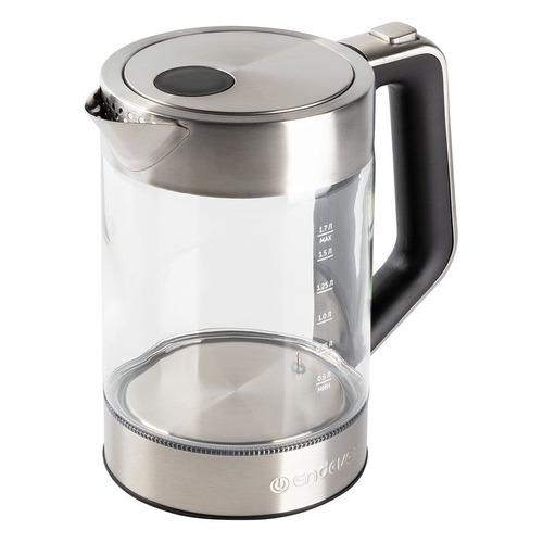 цена Чайник электрический ENDEVER Skyline KR-336G, 2200Вт, прозрачный и серебристый онлайн в 2017 году