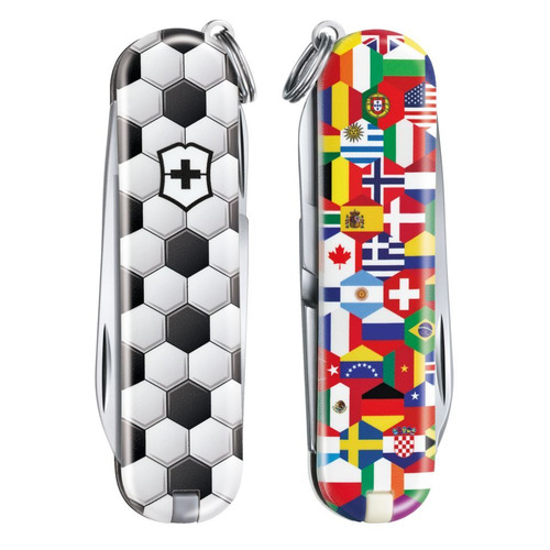 Складной нож VICTORINOX Classic LE2020 World Of Soccer, 7 функций, 58мм, белый / рисунок складной нож victorinox classic le2020 skateboarding 7 функций 58мм красный рисунок
