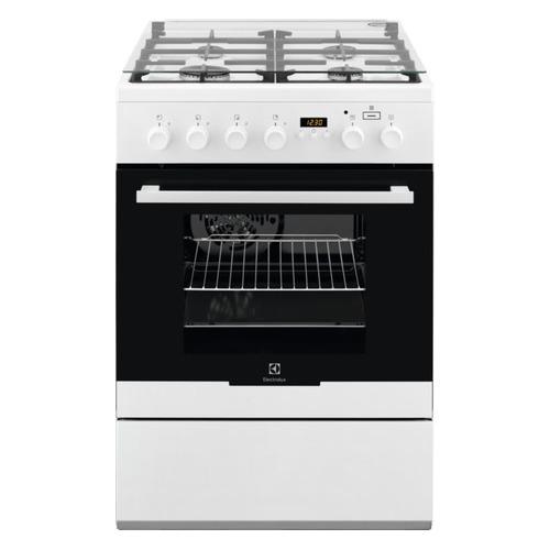 Газовая плита ELECTROLUX EKK96498CW, электрическая духовка, стеклянная крышка, белый