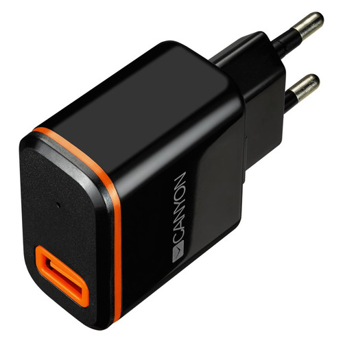 Сетевое зарядное устройство CANYON CNE-CHA042BO, USB, USB type-C, 2.1A, черный/оранжевый