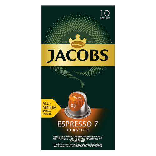Кофе капсульный JACOBS MONARCH Espresso 7 Classico Nespresso, капсулы, совместимые с кофемашинами NESPRESSO®, крепость 7, 10х [8052287] кофе капсульный cellini delizioso caffe lungo капсулы совместимые с кофемашинами nespresso® крепость 8 10 шт