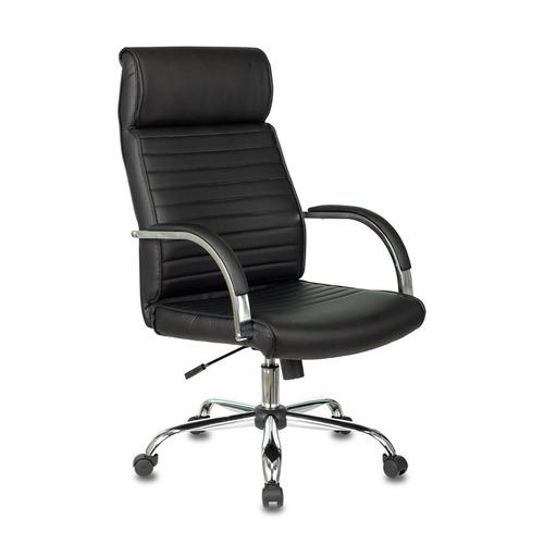 Кресло руководителя БЮРОКРАТ T-8010N, на колесиках, искусственная кожа, черный [t-8010n/sl/black] кресло руководителя бюрократ t 9910n black черный искусственная кожа пластик серебро