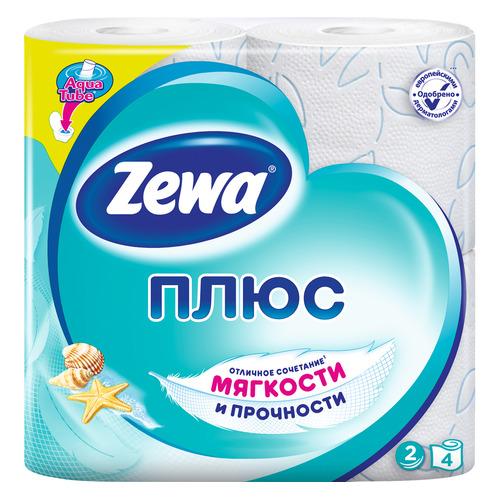 Бумага туалетная ZEWA Плюс Свежесть Океана, 2-х слойная, 4шт [144053] туалетная бумага zewa миндальное молочко 42 л