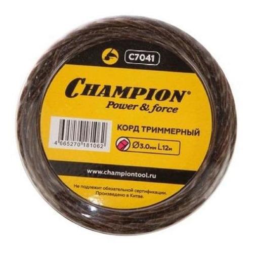 Леска для садовых триммеров CHAMPION C7041, 3.0мм, 12м champion корд трим tri twist 2 0мм 105м витой треугольник c7045 корды champion шт
