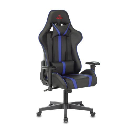 Кресло игровое БЮРОКРАТ VIKING ZOMBIE A4, на колесиках, искусственная кожа, черный/синий [viking zombie a4 bl] кресло офисное персона persona доступные цвета обивки искусств чёрная кожа
