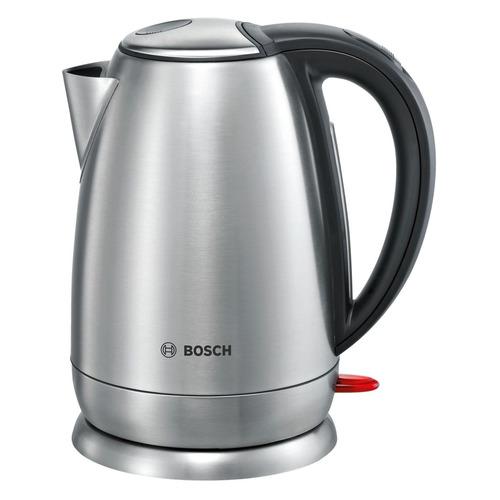Чайник электрический BOSCH TWK78A01, 2200Вт, черный и серебристый чайники электрические bosch чайник bosch twk7801 1 7л 2200вт